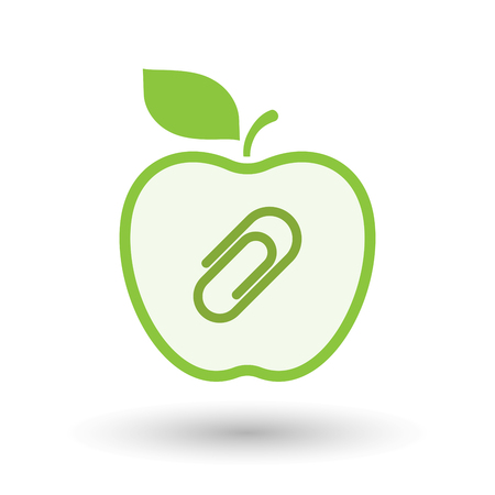 Illustration of an isolated  line art apple icon with a clip
