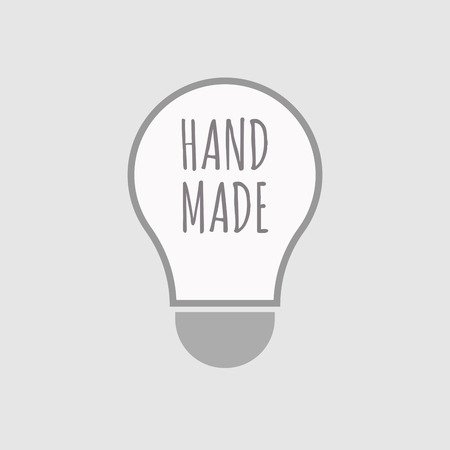 Illustration of an isolated line art light bulb icon with the text HAND MADE Ilustração Vetorial