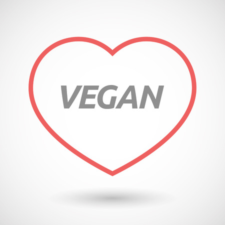 passion  ecology: Illustration of an isolated line art heart icon with    the text VEGAN