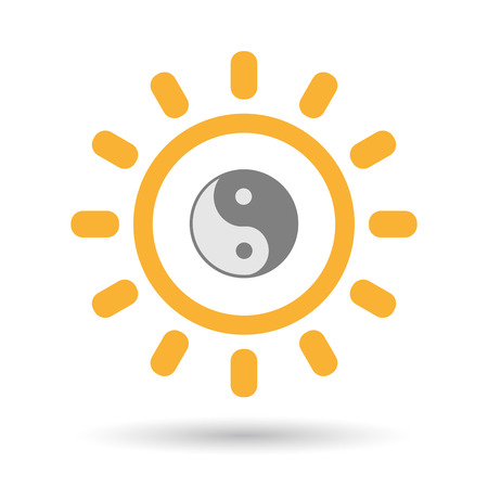 Illustration of an isolated  line art sun icon with a ying yang Illustration
