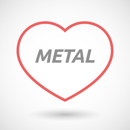 seduction: Illustration of an isolated line art heart icon with       the text METAL