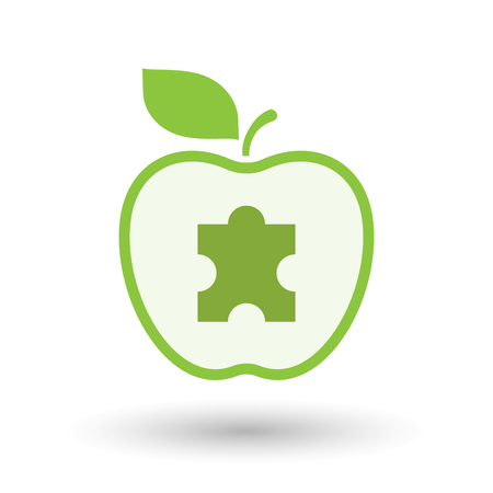 art piece: Illustration of an isolated  line art apple icon with a puzzle piece