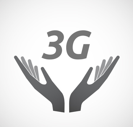3g: Illustration of two hands offering with    the text 3G
