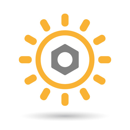 rivets: Illustration of an isolated  line art sun icon with a nut