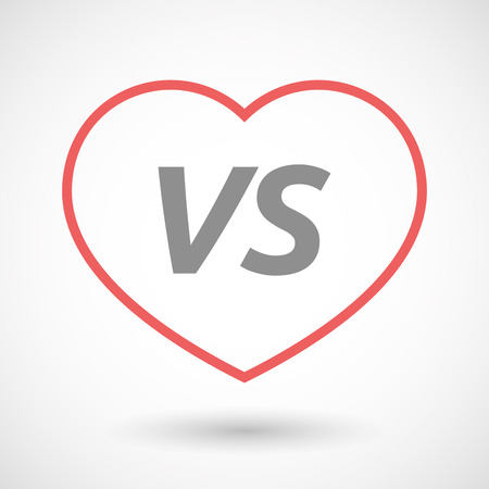 Illustration of an isolated line art heart icon with    the text VS
