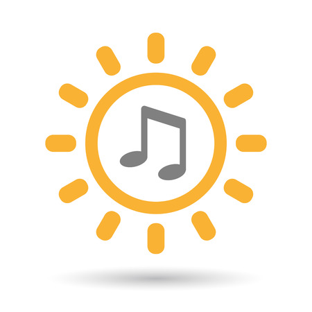 Illustration of an isolated  line art sun icon with a note music