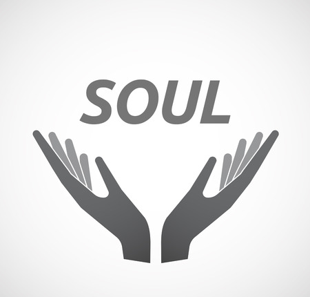 offering: Illustration of two hands offering with    the text SOUL Illustration
