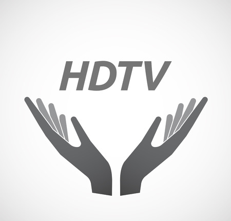 hdtv: Illustration of two hands offering with    the text HDTV