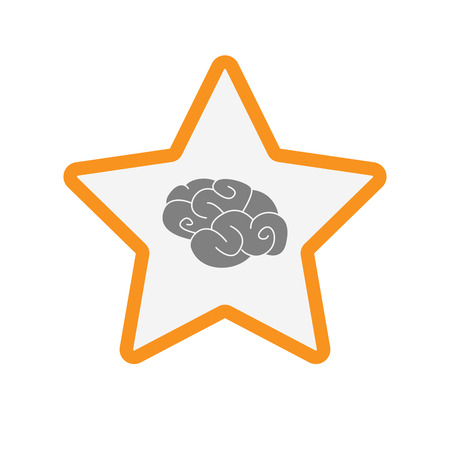 Illustration of an isolated  line art star icon with a brain