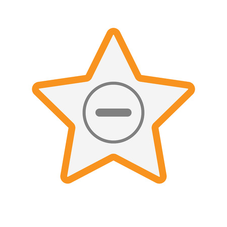 Illustration of an isolated  line art star icon with a subtraction sign