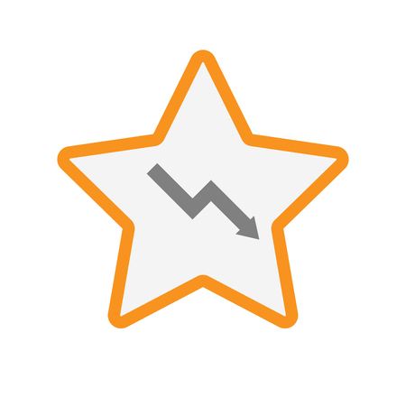 descending: Illustration of an isolated  line art star icon with a descending graph Illustration