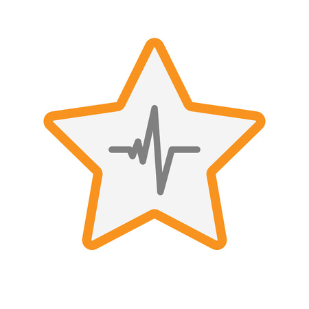 Illustration of an isolated  line art star icon with a heart beat sign Illustration