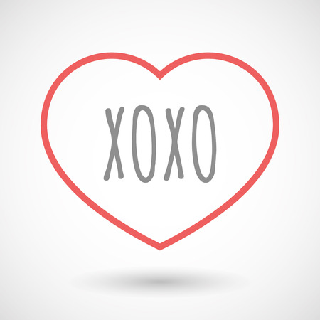xoxo: Illustration of an isolated line art heart icon with    the text XOXO