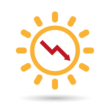 Illustration of an isolated  line art sun icon with a descending graph Illustration