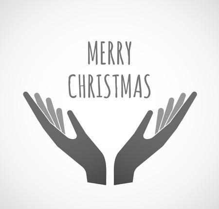 Illustration of two hands offering with    the text MERRY CHRISTMAS