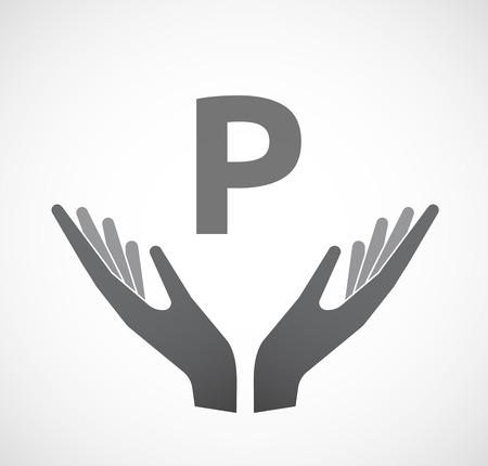 offering: Illustration of two hands offering with    the letter P Illustration