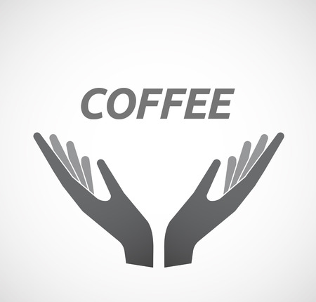 ease: Illustration of two hands offering with    the text COFFEE Illustration