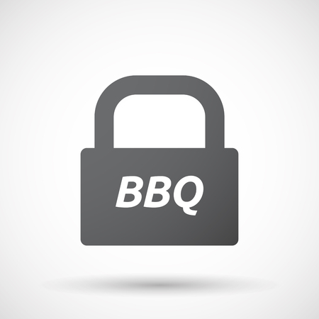 party system: Illustration of an isolated closed lock pad icon with    the text BBQ