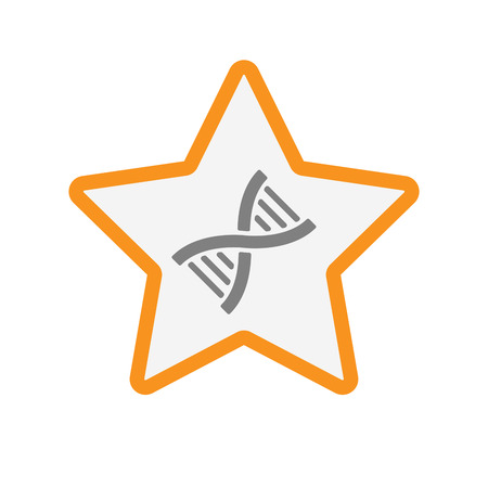 Illustration of an isolated  line art star icon with a DNA sign