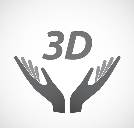 Illustration of two hands offering with    the text 3D