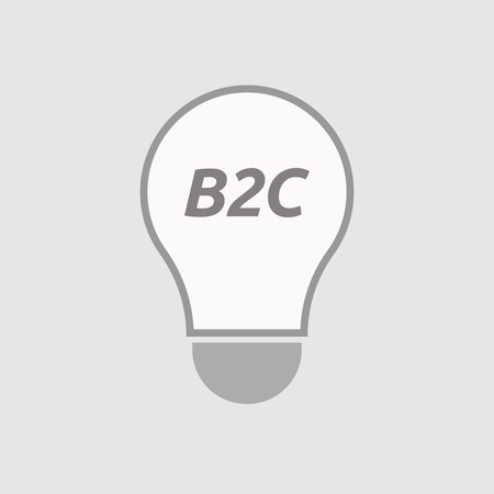 b2c: Illustration of an isolated line art light bulb icon with    the text B2C