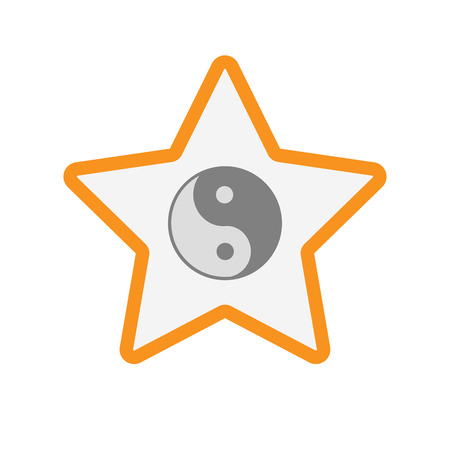 Illustration of an isolated  line art star icon with a ying yang