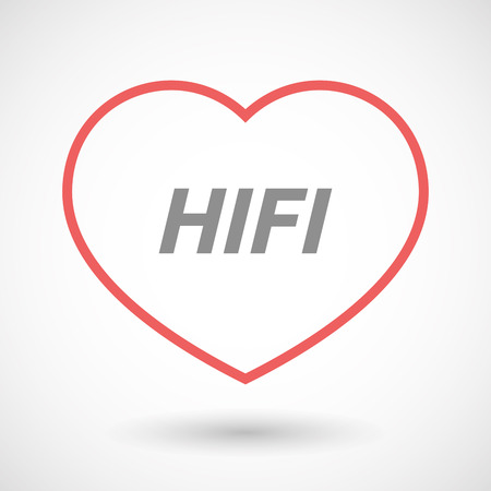 hifi: Illustration of an isolated line art heart icon with    the text HIFI