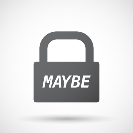 maybe: Illustration of an isolated closed lock pad icon with    the text MAYBE Illustration