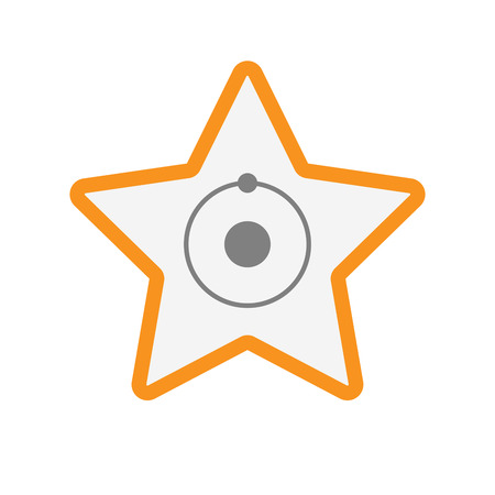 energy ranking: Illustration of an isolated  line art star icon with an atom
