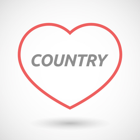 seduction: Illustration of an isolated line art heart icon with    the text COUNTRY