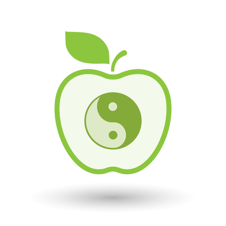 Illustration of an isolated  line art apple icon with a ying yang