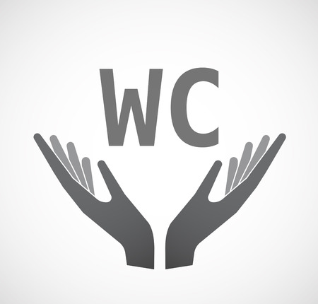wc: Illustration of two hands offering with    the text WC