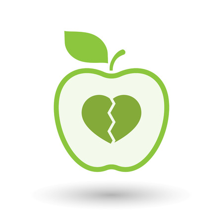 Illustration of an isolated  line art apple icon with a broken heart