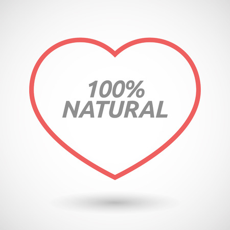 passion ecology: Illustration of an isolated line art heart icon with    the text 100% NATURAL Illustration