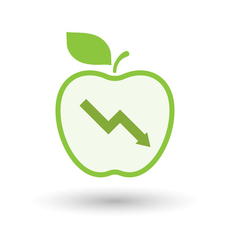 Illustration of an isolated  line art apple icon with a descending graph Illustration