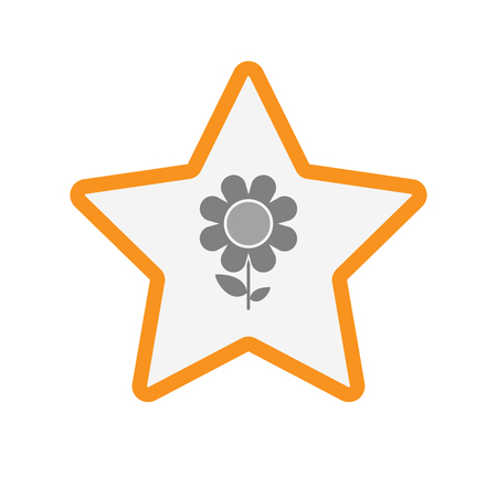 golden daisy: Illustration of an isolated  line art star icon with a flower