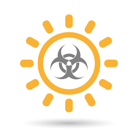 riesgo biologico: Ilustración de un icono aislado sol línea de arte con una señal de peligro biológico Vectores