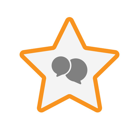 Illustration of an isolated  line art star icon with  comic balloons Illustration