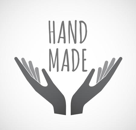 Illustratie van twee handen die met de tekst HAND MADE