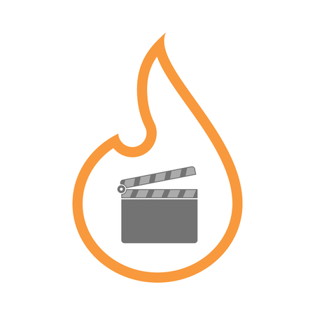 Illustration of an isolated  line art flame icon with a clapperboard Illustration