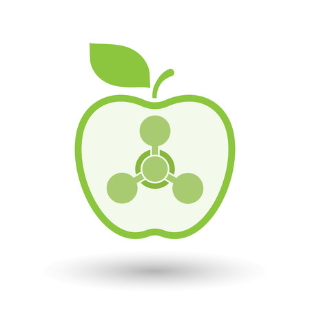 Illustration of an isolated  line art apple icon with a chemical weapon sign Illustration