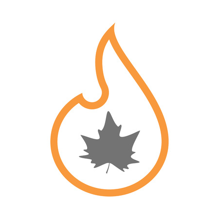 Illustration of an isolated  line art flame icon with an autumn leaf tree