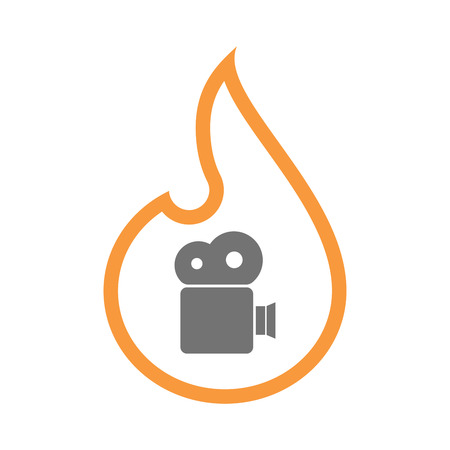 Illustration of an isolated  line art flame icon with a film camera Illustration