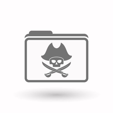 sabre: Illustration of an isolated  line art  folder icon with a pirate skull