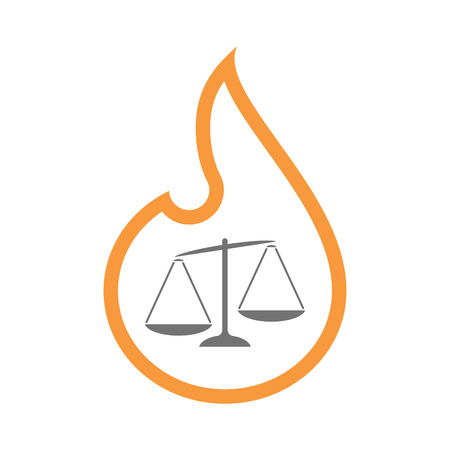 tribunal: Illustration of an isolated  line art flame icon with  an unbalanced weight scale
