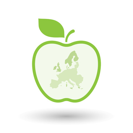 Illustration of an isolated  line art apple icon with  a map of Europe
