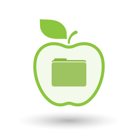 Illustration of an isolated  line art apple icon with a folder Illustration