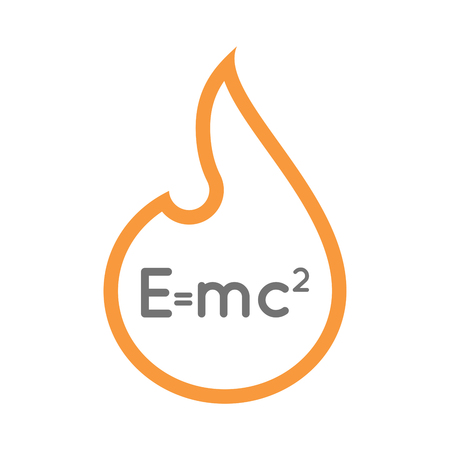 Illustration of an isolated  line art flame icon with the Theory of Relativity formula