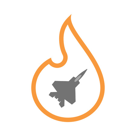 Illustration of an isolated  line art flame icon with a combat plane