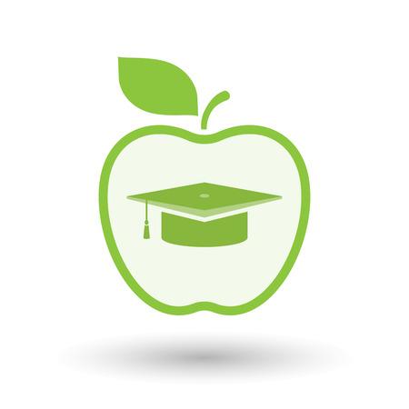 Ilustración de una línea de arte icono de la manzana aislada con un casquillo de la graduación Ilustración de vector